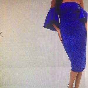 Lace Bardot Midi Dress with Extreme Sleeves